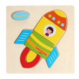 Rocket Shaped Wooden Puzzle Block Cartoon Educational Toy Multicolor
