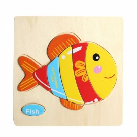 Fish Shaped Wooden Puzzle Block Cartoon Educational Toy Multicolor