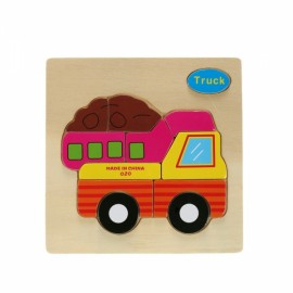 Truck Shaped Wooden Puzzle Block Cartoon Educational Toy Multicolor