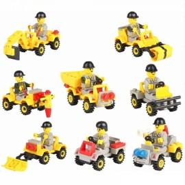8sets City Engineering Truck Building Block Mini Figures Toy Car Compatible Legoe City Vehicle
