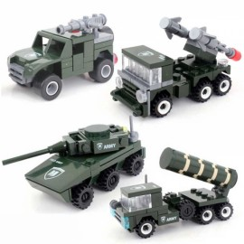 4sets Military Field Forced Army Vehicle Tank Building Blocks Set Kid Toy Green