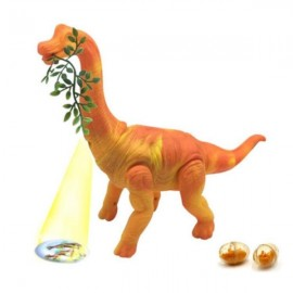 Lays Eggs Brachiosaurus Dinosaur Battery Operated Toy with Sound Light Projection Function - Orange