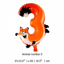 16 inch Animal Number Aluminum Foil Balloon Birthday Party Decoration Balloon Number 3