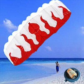 Braided Line Soft Plus Material Parachute Flame Sports Beach Kite Red & White