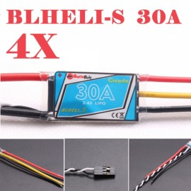 4pcs Sunrise Cicada BLHELI-S Upgrade BLHeli 30A 2-4S Programming Multishot ESC for RC Quadcopter