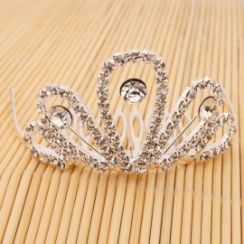 Pretty Shining Rhinestone Bridal Hair Comb Crown