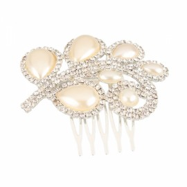 Elegant Leaves Style Bridal Pearl Rhinestone Hair Comb Pin Silver