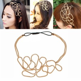 Stylish Hollow Alloy Headband Golden