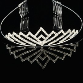 Simple and Elegant Alloy and Rhinestone Crown Hair Comb Pin Silver