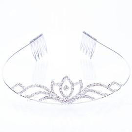 Flower Petal Shaped Alloy Bride Crown Tiara Medium Size Silver