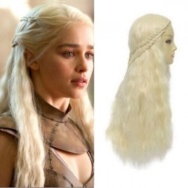 Game of Thrones Daenerys Targaryen Curly 2-Braid Cosplay Hair Wig Platinum Blonde