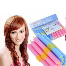 12pcs User-friendly Hairdressing Tool DIY Hair Rollers Sponge Hair Curlers Random Color