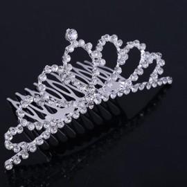 Rhinestone Bridal Wedding Princess Crown Tiara Hair Comb #01