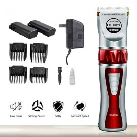 Adult Children Home Rechargeable Electric Hair Clipper US Plug Red & Silver