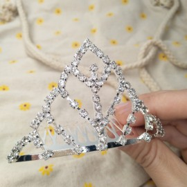 Medium Rhinestone Crown Tiara Hair Comb 10 M10 Silver