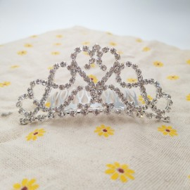 Medium Rhinestone Crown Tiara Hair Comb 9 M9 Silver