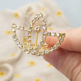 Small Wedding Bridal Rhinestone Crown Tiara Hair Comb Pin S2 Golden