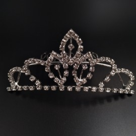 Large Wedding Bridal Rhinestone Crown Tiara Hair Comb L2 Silver
