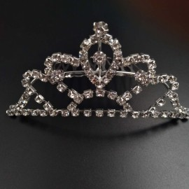 Large Wedding Bridal Rhinestone Crown Tiara Hair Comb L1 Silver