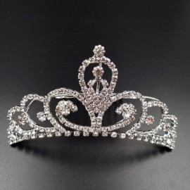 Large Wedding Bridal Rhinestone Crown Tiara Hair Comb L6 Silver