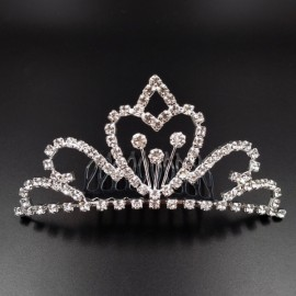 Large Wedding Bridal Rhinestone Crown Tiara Hair Comb L9 Silver