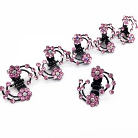 6pcs Bride Plum Flower Rhinestone Clip Claws Bridal Hair Barrette Wedding Dress Hair Accessories Light Pink