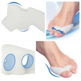 1 Pair Silicone Hallux Valgus Straightener Orthotics Toe Separator White