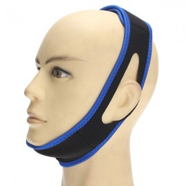 Anti-snoring Snore Stopper Chin Jaw Strap Supporter Sleep Improving Belt Black & Blue