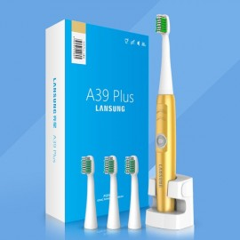 A39Plus Wireless Rechargeable Electric Toothbrush Ultrasonic Rotary Toothbrush with 4pcs Toothbrush Heads for Adult Golden