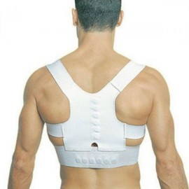 Magnetic Posture Support Corrector Back Pain Correction Belt White XL