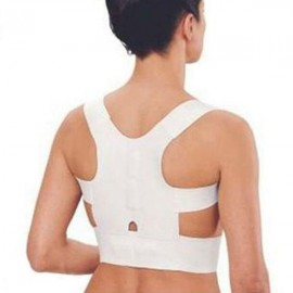 Magnetic Posture Support Corrector Back Pain Correction Belt White L