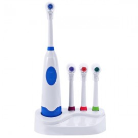 Waterproof Rotation Ultrasonic Electric Toothbrush with Replacement Brush Heads & Covers Blue
