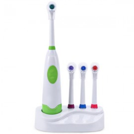 Waterproof Rotation Ultrasonic Electric Toothbrush with Replacement Brush Heads & Covers Green