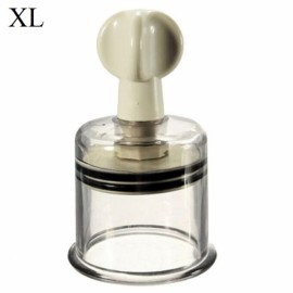 Traditional Chinese Cupping Therapy Twist Vacuum Suction Cupping Nipple Enhancer Size XL White & Transparent