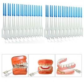 40pcs Interdental Between Teeth Floss Brush Elastic Massage Gum Toothpick Random Delivery