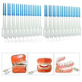 40pcs Interdental Between Teeth Floss Brush Elastic Massage Gum Toothpicks Random Delivery