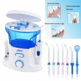 Dental Water Flosser Teeth Cleaner & Flossing Oral Irrigator 600mL Tanks + 7 Tips with Adjustable Pressure EU Standard