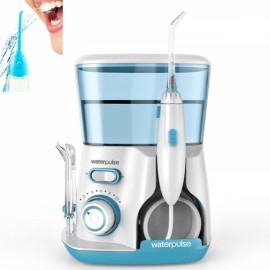 Waterpulse Dental Water Flosser Teeth Cleaner with 800ml Water Capacity 10 Pressure Settings + 5 Rotatable Tips UK Plug