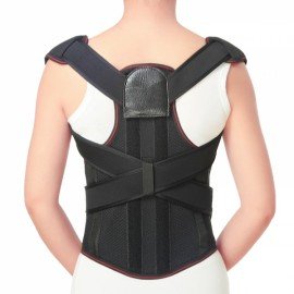 Fully Adjustable Hunchbacked Posture Corrector Lumbar Back Support Brace Memory Aluminum Alloy - XXL