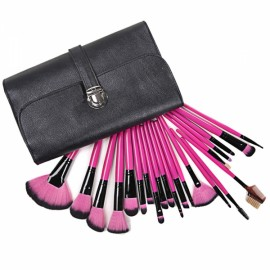 CB82036 22-in-1 Professional Soft Cosmetic Makeup Synthetic Fiber Brush Set with Case Black & Rose Red