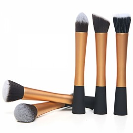 CB82055 5-in-1 Powder Blush Foundation Contour Makeup Brushes Cosmetic Tool Set Golden & Black
