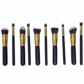 CB82054 10pcs High-level Cosmetic Brushes Makeup Tool Set Black & Golden