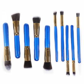 CB82054 10pcs High-level Cosmetic Brushes Makeup Tool Set Blue & Golden