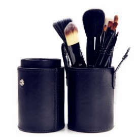 12pcs Makeup Brushes Kit Studio Holder Tube Convenient Portable Leather Cup Natural Hair Synthetic Duo Fiber J1204MCB Black