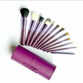 12pcs Makeup Brushes Kit Studio Holder Tube Convenient Portable Leather Cup Natural Hair Synthetic Duo Fiber J1204MCB Purple