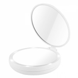Fashion Portable Folding Table LED Lamp Luminous Cosmetic Mirror Double-side Makeup Mirror with Retail Box White