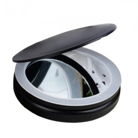 Fashion Portable Folding Table LED Lamp Luminous Cosmetic Mirror Double-side Makeup Mirror with Retail Box Black
