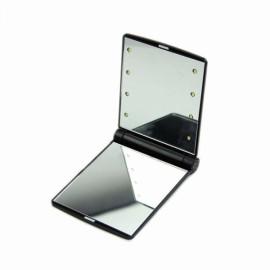 Hot Portable LED Mirror Makeup Cosmetic 8 LED Lights Lamps Folding Compact Pocket Mirror Black
