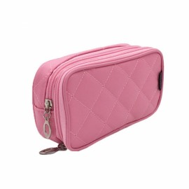 Portable 2 Layers Travel Storage Bag Colorful Cosmetic Makeup Organizer Toiletry Storage Bag Pink