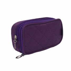 Portable 2 Layers Travel Storage Bag Colorful Cosmetic Makeup Organizer Toiletry Storage Bag Dark Blue